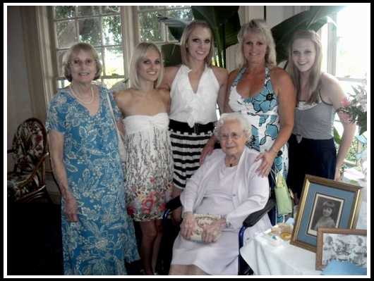 "Lynn Timberlake, property manager of 28 years. Celebrating 4 generations of ""beach girls"" with her mother, Judy, grandmother Harriett Lenfestery and daughters, Caitlynn, Allison and Meghann Timberlake"